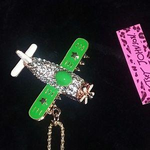 Pretty! Crystal-Enamel Airplane Charm/free Chain